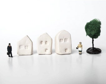 3 Tiny ceramic house/ Clay house/ Miniature ceramic house/ Small village/ White house/ Tiny city
