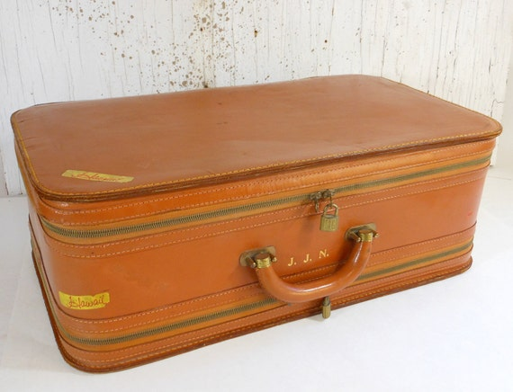 Vintage ABERCROMBIE & FITCH Leather Suitcase Double Sided Twinair Luggage Mid Century PeachyChicBoutique on Etsy
