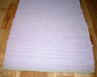 Rag Rug Soft Lavender 38 inches Long Woven No Fringe