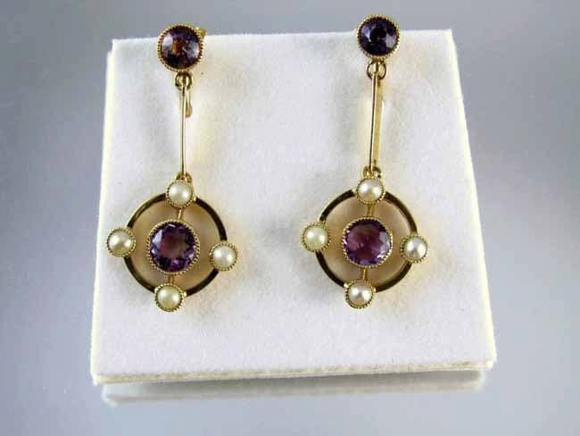 Vintage European Art Deco 15CT gold amethyst seed pearl screw back earrings
