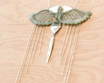 Lace necklace - Condor - Iridescent mint lace, with silver chain & Swarovski crystal