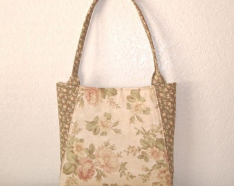 Handmade Tote Bag, Handmade Purse, Cream and Mauve Roses, Shabby,  Handbag, Cottage Chic Bag, Fashion Accessories, Multi Use, gift Idea
