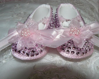 REBORN or BABY Pink Sparkle Stone Crib SHOES  size 0