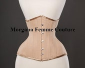 READY TO SHIP-  22 inch Nude English Coutil tightlacing waist training mid length corset
