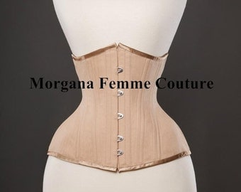 READY TO WEAR-  size 18 to 26 inch Nude English Coutil tightlacing waist training mid length corset