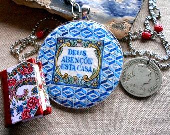 Portugal Azulejo Tile Replica Necklace - MINIATURE red leather  VIANA BOOK -1929 coin Deus abençoe esta casa - God bless this house ooak
