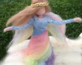 Rainbow Angel, Needle Felted Fairy Waldorf
