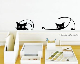 Cat wall decals - crazy cats wall decals - set of 7 cats in various poses -  black cat wall decals - animal wall decal - cat wall stickers