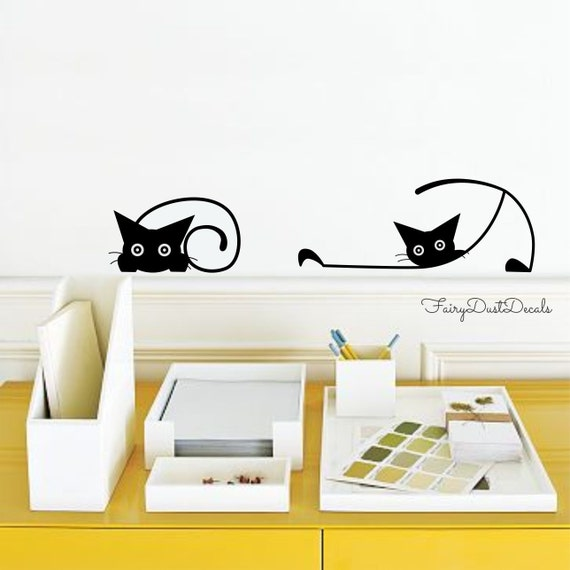 Cat wall decals by FairyDustDecals on Etsy