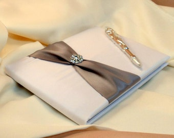 Bridal Satin and Sash Wedding Guest Book and Pen Set with Rhinestone Accent...You Choose the Satin Colors.... shown in white/silver gray