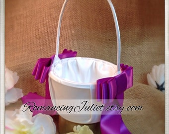 Triple Bow Satin Flower Girl Basket...You Choose Your Colors..BOGO Half Off..shown in white/plum aubergine