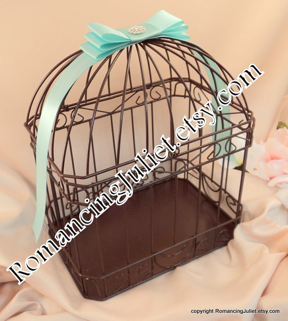 Chocolate Brown and Aqua Wedding Card Box Bird Cage with Rhinestone Accent..Any Color Available...