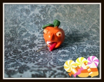 pumpkin dollhouse miniature OOAK all dress up Halloween Glow in Dark Eyes