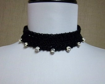 Black Choker Necklace with Black and White Beads - Ready to Ship Women's Cotton Crochet Beaded Choker