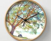 Tree photo clock, summer time photo wall clock, home decor clock, nature lover clock, foliage nature clock,  tree print clock, rustic decor