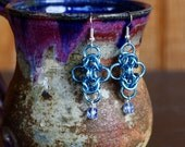 Byzantine Plus Chainmail Earrings with Matching Beads