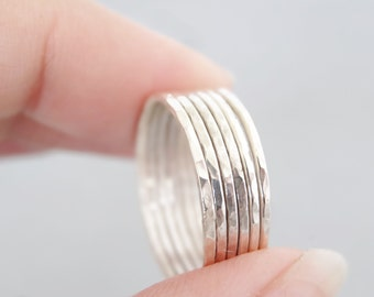 Six Stacking Rings set of 6 skinny rings in sterling silver hammered thin stack ring