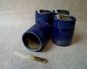 Stoneware Tumblers  in blu and brown with little spoons - MADE TO ORDER - stoneware - set of 4 tumbler and 4 little spoons