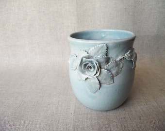 Little jar with rose and leaves -Handmade Ceramics  - Stoneware - light blue