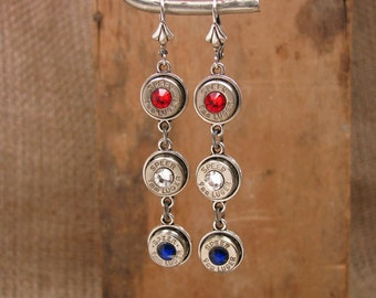 Bullet Jewelry - July 4th - Independence Day, Labor Day, Patriotic - Red, White Blue Triple Nickel 9mm Dangle Earrings