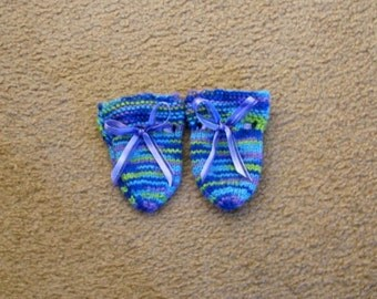 Hand Knitted - Baby Mittens in Peacock Colors