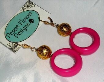 Vintage Fuchsia Plastic Hoop Earrings with Brass Filigree