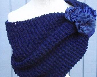 Navy blue shawl, Knitting shawl, handmade shawl, bridal gift, wedding, bridal shawl, wedding shawl, accessories, handmade flower, shrug