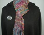 Women's Scarf, Handwoven Recycled Sari Silk, Uruguayan Wool, Blue