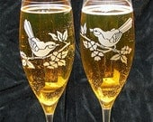 Love Birds Themed Wedding Champagne Flutes, Fine Crystal Champagne Glasses, Engagment Present