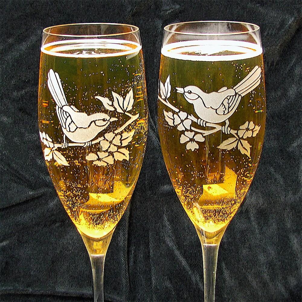love birds themed wedding champagne flutes fine crystal