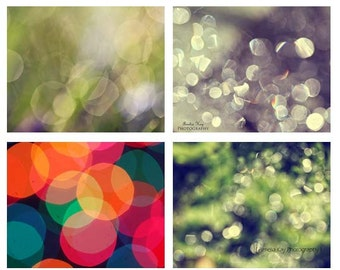 Abstract Geometric Photography Set  - Set of 4 Geometrical Prints shapes circles colorful red blue silver blue green rainbow fall autumn