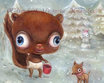 Surreal Winter Scene, Big Eye Chipmunk, Lowbrow Art Print, Creepy Cute, Pop Surrealism, EVK