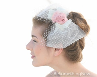 Big Net Bow Wedding Headpiece, with Pink Flower on a Comb, Wedding Veil, Wedding Hair, Modern Wedding Veil, Bridal Headpiece, Birdcage Veil