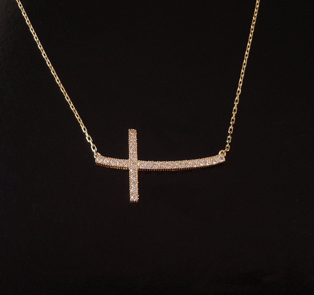 Sideways Curved Cross Necklace: Sideways Cross Necklace Curved With Cz's In Sterling
