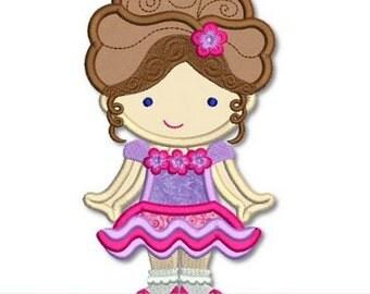 PAGEANT GIRL Cutie Applique 4x4 5x7 6x10 svg Machine Embroidery Design  INSTANT Download