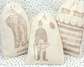 Muslin Favor Bags 4x6  - Vintage Circus - Set of 12 - Wedding Favors, shower favors, thank you