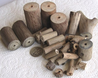 34 Driftwood Sea Wood Beads Tubes Drilled 3mm holes Supplies (1609)