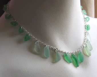 Natural Sea Glass Sterling Silver Necklace Shades of Green (580)