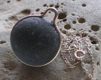 Rare Black Sea Glass Sterling Silver Pendant Necklace (603)