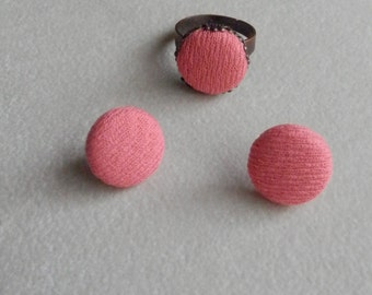 Mon Petite ring and Earring Set-  retro coral