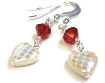 Earrings - White Heart and Red Crystal
