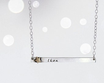 Star Child Name Tag Necklace-  Name Plate Necklace with Brass Star Rivet