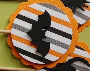 Orange, Grey and Black Striped Halloween Cupcake Topper Picks -- Set of 12
