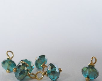 Vintage Teal green crystal bead faceted Swarovski  Charms Small dangle beads jewelry supplies