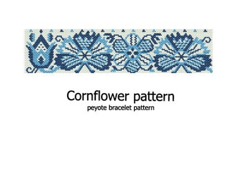 Cornflower - Peyote Bracelet Pattern - INSTANT DOWNLOAD