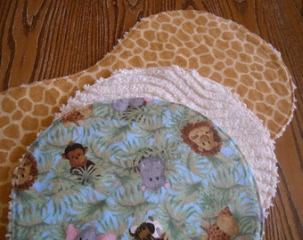 Flannel and Chenille Burp Cloths Jungle Animal Babies