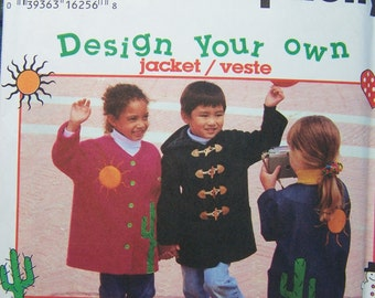 SALE Simplicity 9303 Toddler Sewing Pattern - Child's Jacket with Detachable Hood, Easy to Sew, Design your Own Size 3 - 6 Toddler Coat