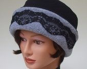 Lace and Rhinestone Fleece Cuff Hat, Cool Heather Grey and Black, Med.