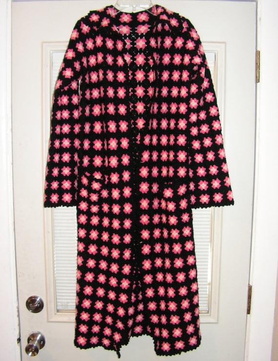 Granny square Coat / Black Pink Crochet Maxi Jacket / Small Coat XS / Bohemian Hand Knit Coat / Grunge Punk Festival Sweater