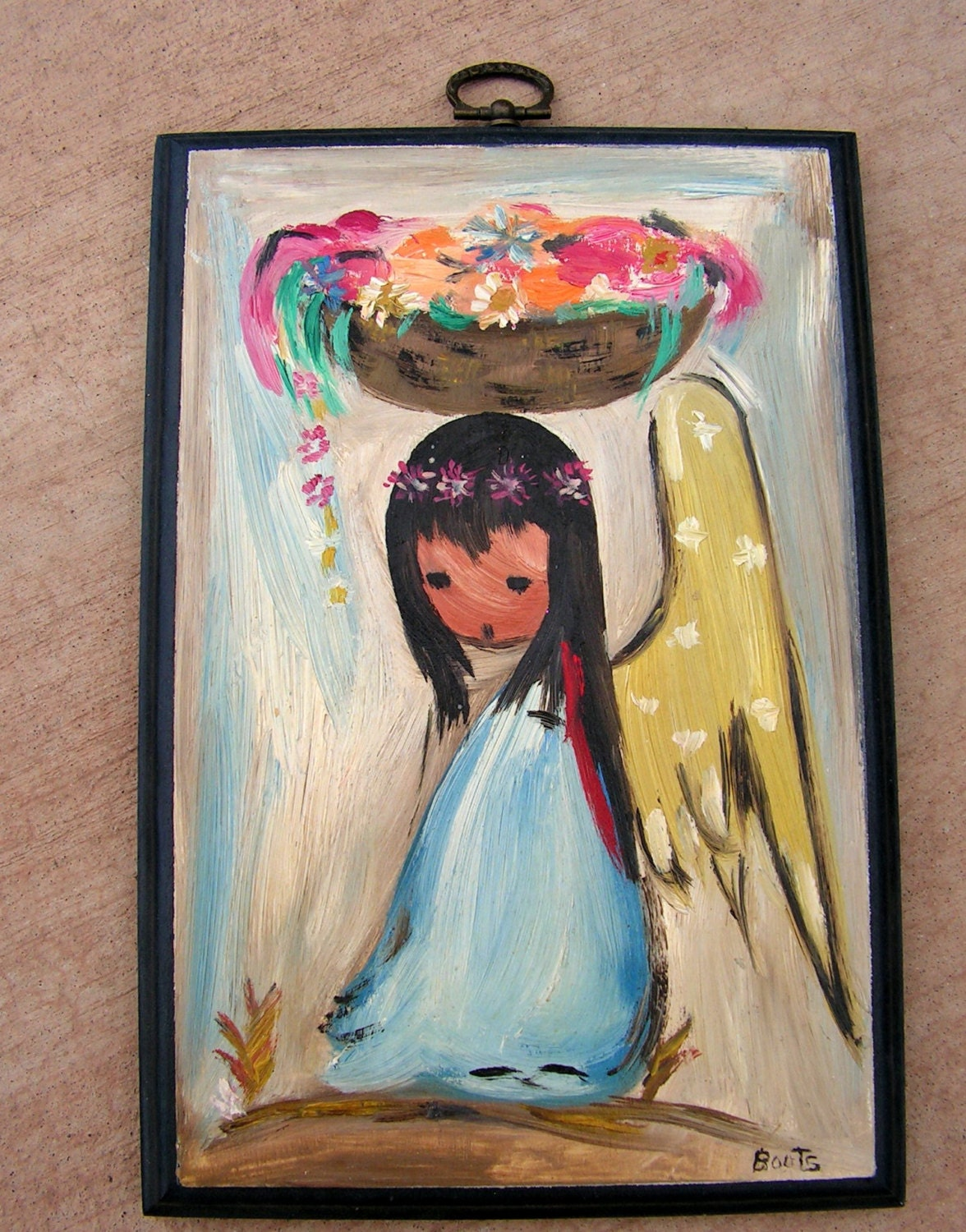 Ted Degrazia Style Original Oil Painting Angel Girl